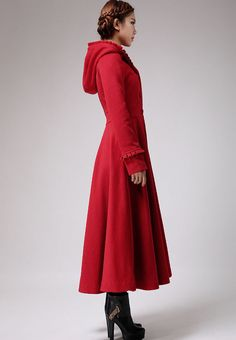 Wine Red Hooded Maxi Coat / Long Wool Coat with by Sophiaclothing ...