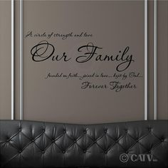 Wall decal Our Family A circle of strength and love founded on faith vinyl lettering wall saying quote sticker by VinylLettering