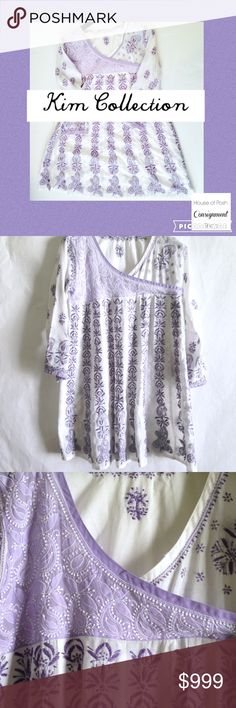 ❗️3️⃣0️⃣% OFF WILL ADJ. ASK? NO BUNDLE REQUIRED ❗️ Please see description for size. XL. Length:  35 in from shoulder to hem Bust; 40 in. Sleeves 20 in No give ( true to size w/o stretch). Kim Collection.  Exotic Purple/White Kurti Tunic Hand Stitch XL. KIM COLLECTION Tops Tunics