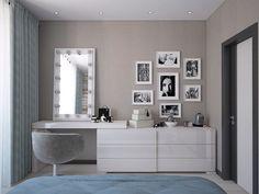 Спальня, белая мебель.