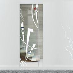 Eclisse 10mm Intuizione Murano Design on Clear or Satin Glass Syntesis Pocket Door.    #muranoglassdoor  #framelessglassdoor  #glassdoor