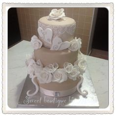 Wedding cake...my very first wedding cake :)