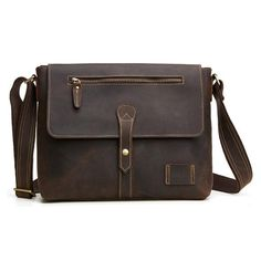 7e9ea15746dc Handmade Crazy Horse Men Leather Messenger Bag