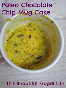 Paleo Chocolate Chip Mug Cake.....hmmm didn't realize they had chocolate chips, microwaves, or mugs in the Paleolithic era....dumbasses