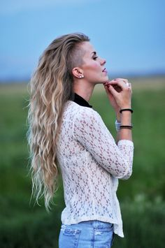 Image result for girl shaved hair and braids