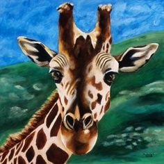 Giraffe Painting - Kids Room Art Print Titled: Hello $15 on #Etsy. To view in detail, click here: www.etsy.com/listing/29675638/giraffe-painting-kids-room-art-print?