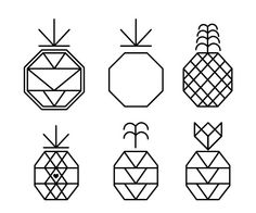 Pineapple Geometric Line Ink 1 \\ octagons are positively recognised in chinese cultures and pineapples are known to bring fortune.