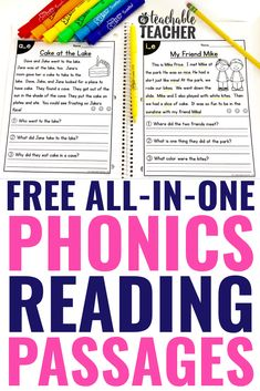 These free phonics reading passages have it all: phonics skills, fluency practice and comprehension questions. Plus, students love to read them! Phonics Reading, Reading Worksheets, Teaching Reading, Reading Intervention Activities, Blends Worksheets, Teaching Phonics, Phonics Activities, Teaching Ideas, Learning