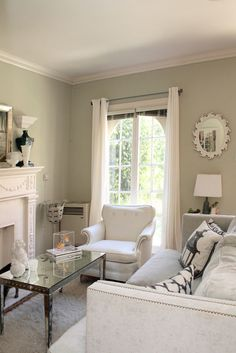 wonderful color for a living room; subtle green that adds color, and really makes the white pop