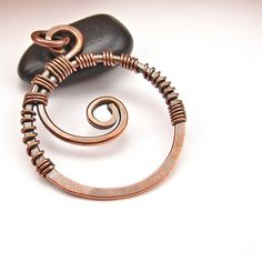 Hammered Copper Wire Pendant HandForged Boho by OzmayDesigns, $11.99