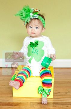 Baby Girl St. Patrick's Day Outfit --  Lucky Little Girl  -- Over The Top bow, personalized bodysuit and rainbow leg warmers
