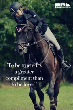 """To be trusted is a greater compliment than to be loved"" horse quote #BRLequine horse bond"