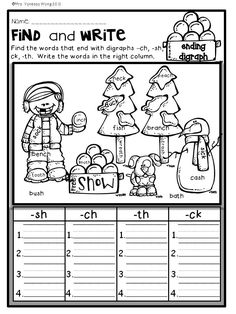 Download free printables at preview. Ending digraph. Winter Math and Literacy No Prep Printables - First grade. An excellent pack with a lot of sight word, vowels, blends, digraphs, vocabulary, word work, grammar, reading & comprehesnion, writing, fluency and other literacy activities