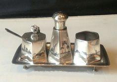 Iraqi silver and niello condiment set فضة, فضيات عراقية قديمة