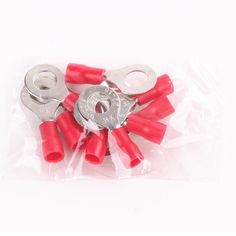 RV1.25-6mm Red 10PCS Sleeve Tongue Pre Insulated Ring eye Crimp Terminals Electrical Wire Connectors 22-18AWG