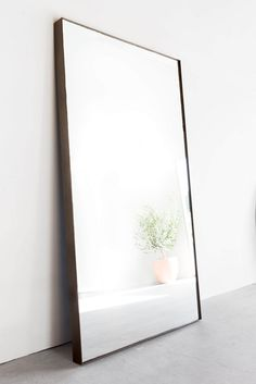 Materials: Industrial Steel Process: Custom Made in Los Angeles. Welded industrial steel frame, mirror cut to size. Big Mirror In Bedroom, Giant Mirror, Living Room Mirrors, My Living Room, Rustic Furniture, Furniture Decor, Furniture Design, Cheap Furniture, Funky Furniture