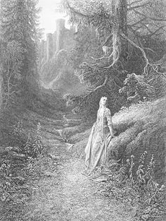 """And her, Lavaine across the poplar grove Led to the caves . . . ."" Elaine on Her Road to the Cave of Lancelot: Gustave Doré"