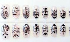Henna style art nails press on false nails fake nails ud idee deco faux ongles with idee deco faux ongles Henna Nail Art, Henna Nails, Lace Nails, Glue On Nails, Diy Nails, Mandala Nails, Nagel Gel, Press On Nails, Trendy Nails