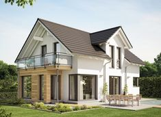 Prefab house EVOLUTION 122 with bay window and balcony - Bien-Zenker ➤ Detached house with saddle roof ✔︎ Pictures ✔︎ Floor plans ✔︎ View prices on HausbauDirekt. Future House, Extension Veranda, Small Modern House Plans, Living Haus, African House, Prefabricated Houses, Modern Farmhouse Exterior, Design Case, Home Fashion