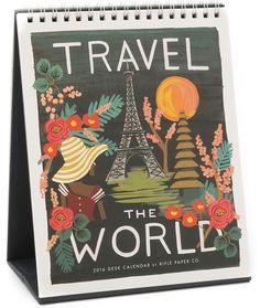 Rifle Paper Co 2016 Travel the World Desk Calendar #holidaygiftguide #2015