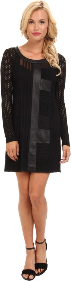 Nanette Lepore Women's Wasn't Me Dress Black Dress. Nanette Lepore Size Guide. Edgy chic!. Perforated leather fabrication with mixed media designs throughout adds an intricate perspective to this sheath dress. Scoop neckline. Long-sleeve construction. Exposed zipper closure at back. Straight hemline hits just above the knee. Attached slip for added modesty. 98% viscose, 2% elastane.Contrast: 100% silk.Contrast 2: 100% polyester. Dry clean only. Imported. Measurements: Length: 33 in…
