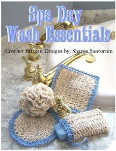 Spa Day Wash Essentials Crochet Pattern PDF by creeksendinc Crochet Home, Crochet Gifts, Diy Crochet, Baby Afghan Crochet Patterns, Recycle Old Clothes, Clothes Crafts, Spa Day, Washing Clothes, Small Gifts