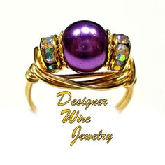 Purple Dreams CZ Glass Pearl Solitaire Artisan Gold Tone Wire Wrap Ring All Sizes
