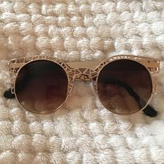 Gold cutout Sunglasses Gold rimmed sunglasses with cutouts---- BRAND NEW NEVER WORN Accessories Sunglasses