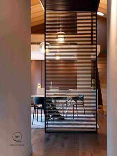 Black frame with line patter screen Glass Partition Designs, Blinds, Tape, Divider, Curtains, Room, Furniture, Black, Home Decor