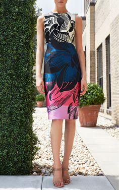 Floral Motif Stripes Duchess Dress by Carolina Herrera for Preorder on Moda Operandi