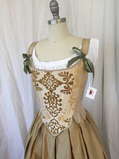 18th Century Corset in Gold Silk Brocade size por Redthreaded