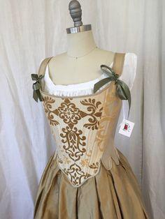 18th Century Corset in Gold Silk Brocade size por Redthreaded