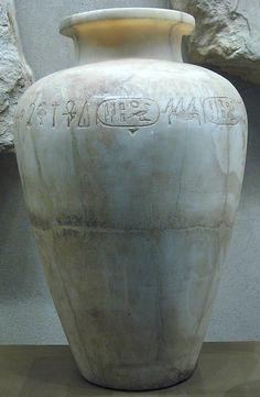 Egyptian alabaster jar of Pepi I, Old Kingdom Dynasty 6th Dynasty, reign of Pepi I Date: ca. 2289–2255 B.C.