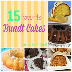 15 Favorite Bundt Cakes. A great round up of some delicious bundt cakes!