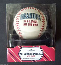 Hallmark Grandpa In A League All His Own Autograph BASEBALL With Stand 8LPR1206 #Hallmark