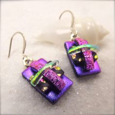 Unique purple jewelry Dichroic Earrings by HanaSakuraDesigns