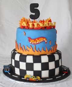 Hot Wheels Car Birthday Cake Double chocolate fudge cake with buttercream and fondant Hot Wheels Party, Bolo Hot Wheels, Hot Wheels Cake, Hot Wheels Birthday, Race Car Birthday, Themed Birthday Cakes, Hotwheels Birthday Cake, 5th Birthday, Birthday Ideas