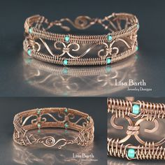 Simple Snake weave border on this bracelet.  This is an easy way to beef up a bracelet, put this border around it and it will be strong.  Lisa Barth                                                                                                                                                                                 More