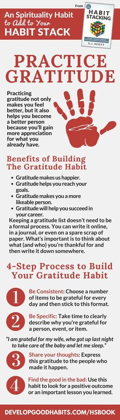Practice gratitude. How rto get an attitude of gratitude and increase your happiness using habits stacking