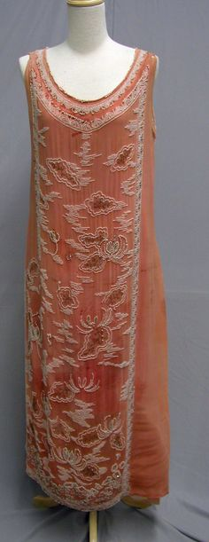 1920's Peach Beaded Silk Evening Dress. Front