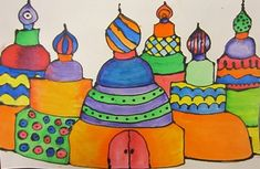 Russian Onion Domes - watercolor, sharpie pen for pattern and black glue for outline - Becker Intermediate Art