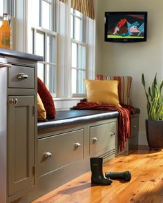 Explore small mudroom ideas at HGTV. If your mudroom is small - or even non-existent - you can still create a space for your muddy things. Home Theater Rooms, Home Theater Design, Small Mudroom Ideas, Mudroom Cabinets, Outdoor Living, Indoor Outdoor, Flooring Options, Custom Cabinetry, Houzz