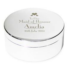 Personalised Decorative Wedding Maid of Honour Round Trinket Box from Personalised Gifts Shop - ONLY Engraved Gifts, Personalized Wedding Gifts, Mother Of The Groom Gifts, Jewellery Boxes, Bride Gifts, Wedding Bridesmaids, Maid Of Honor, Trinket Boxes, Party Gifts
