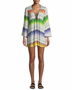 6a16adcb02 Missoni Mare Designer Printed Lace-Up Long-Sleeve Short Coverup