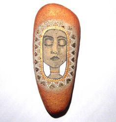 Tribal face painted art stone by Ludibund on Etsy, $24.00