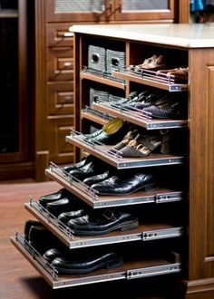 Pull Out Shoe Shelves - Design photos, ideas and inspiration. Amazing gallery of interior design and decorating ideas of Pull Out Shoe Shelves in closets, nurseries, laundry/mudrooms, kitchens by elite interior designers. Master Closet, Closet Bedroom, Closet Space, Bedroom Decor, Master Suite, Bedroom Green, Master Bedrooms, Bedroom Ideas, Best Wardrobe Designs