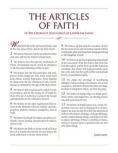 New Articles of Faith printable - like Family Proclamation layout