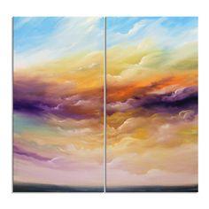 Large abstract landscape painting folk art original 48 by mattsart, $480.00