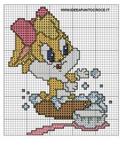 Schemi looney tunes - idee a punto croce latremena! Cross Stitch Love, Cross Stitch Charts, Cross Stitch Patterns, Baby Looney Tunes, Looney Tunes Bugs Bunny, Minnie Baby, Baby Disney, Brother Innovis, Stitch Cartoon