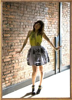 Stylist tips with Shauna McCann in our Wilcox Birdcage Skirt and Antique Telephone Scarf
